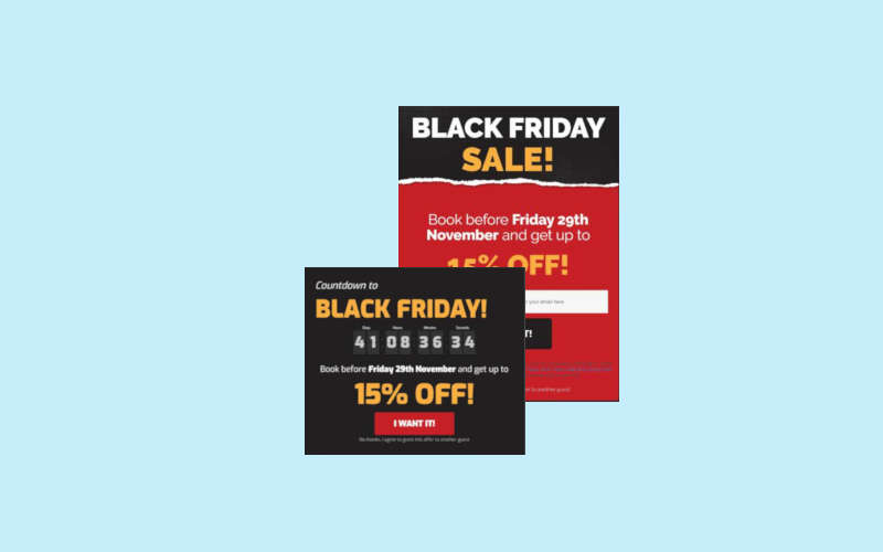Two Popups in Blackfriday design