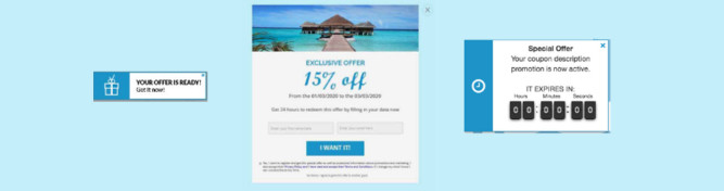 Customer Journey product consisting of a notification, a popup and a countdown clock
