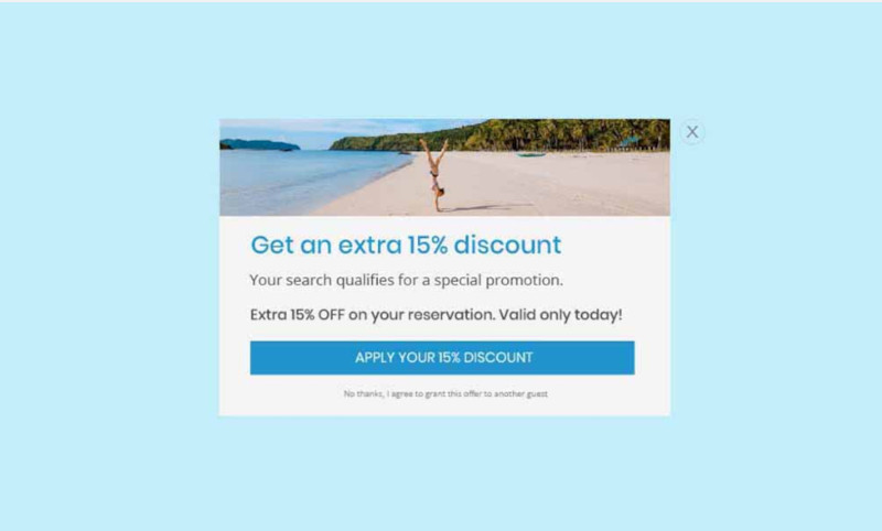 A popup with minimal design that applies a coupon with one click