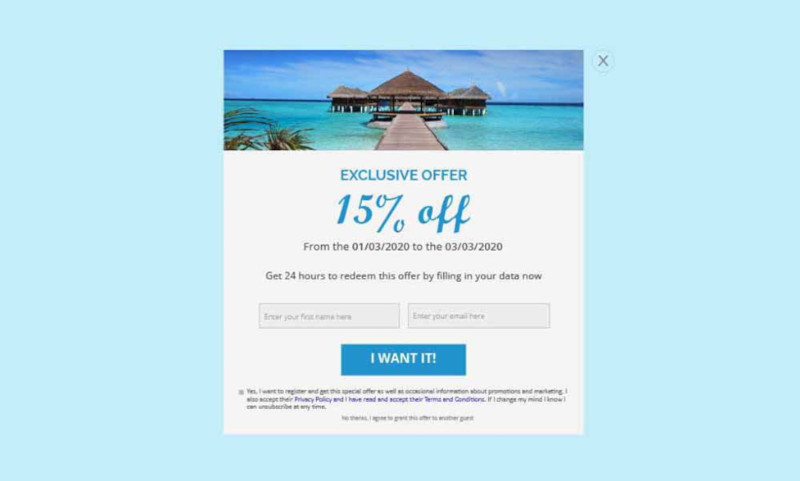 A popup that applies a coupon after entering the email and name