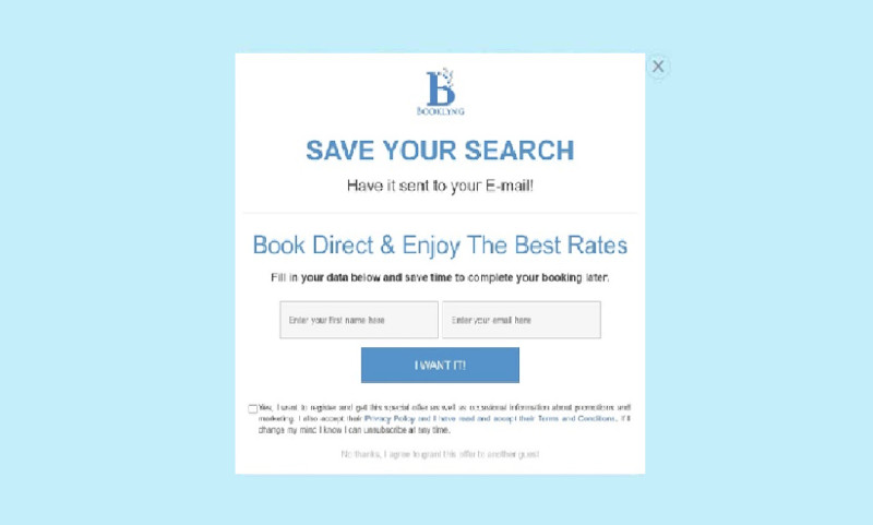 A popup that saves the search of the customer after entering the email and name