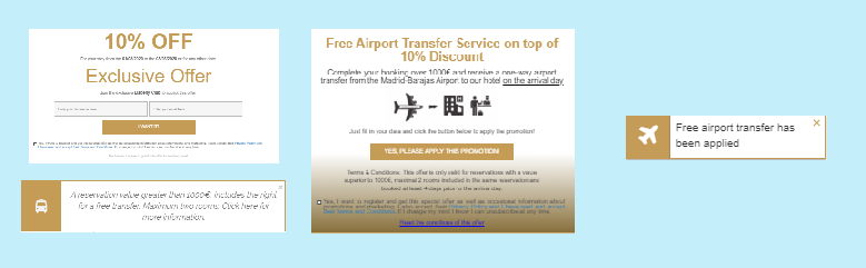 Free airport campaign which contains out of two popups and two notifications