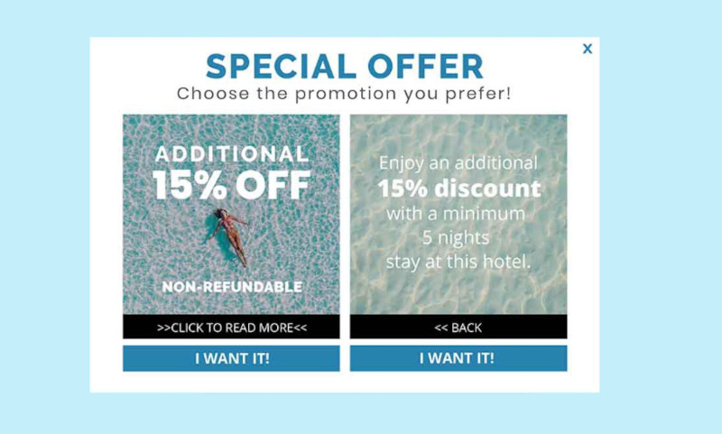 Multioffer product that enables the visitor to choose between 2 offers